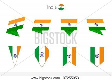 India National Flag Collection, Eight Versions Of India Vector Flags. Vector Illustration.