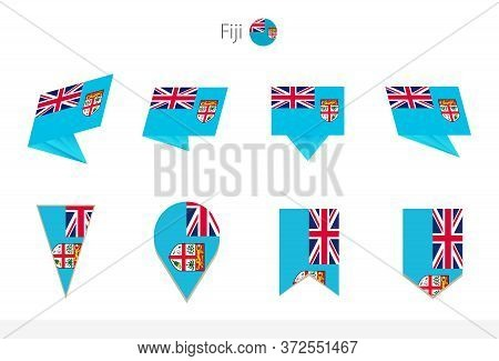 Fiji National Flag Collection, Eight Versions Of Fiji Vector Flags. Vector Illustration.