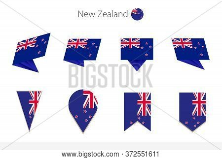 New Zealand National Flag Collection, Eight Versions Of New Zealand Vector Flags. Vector Illustratio