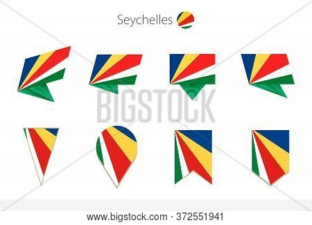 Seychelles National Flag Collection, Eight Versions Of Seychelles Vector Flags. Vector Illustration.
