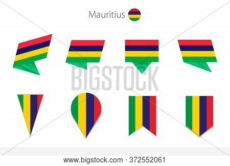 Mauritius National Flag Collection, Eight Versions Of Mauritius Vector Flags. Vector Illustration.