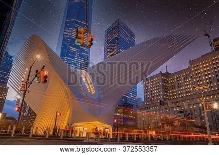 New York, Usa. March 20, 2020. View Of The Oculus Architecture Details In Lower Manhattan At Dusk