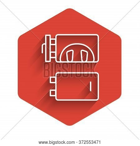 White Line Crematorium Icon Isolated With Long Shadow. Red Hexagon Button. Vector