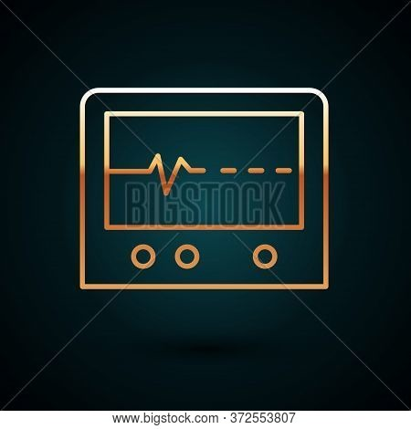 Gold Line Beat Dead In Monitor Icon Isolated On Dark Blue Background. Ecg Showing Death. Vector