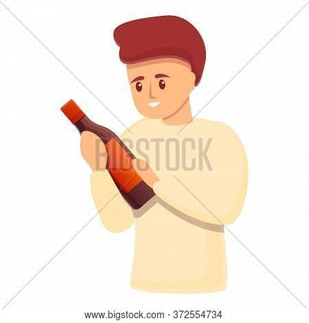 Sommelier Take Wine Bottle Icon. Cartoon Of Sommelier Take Wine Bottle Vector Icon For Web Design Is