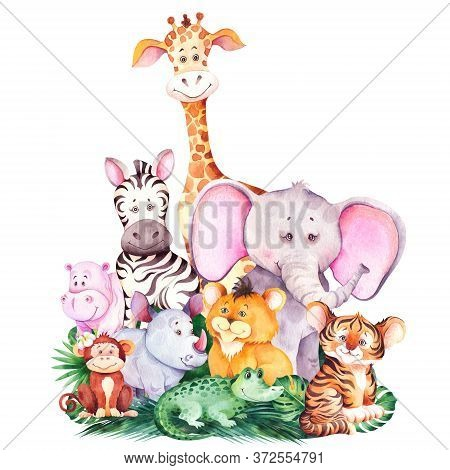 Group Of Cute African Cartoon Animals. Cute Children Illustration. Watercolor Isolated On White Back