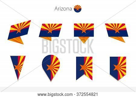 Arizona Us State Flag Collection, Eight Versions Of Arizona Vector Flags. Vector Illustration.
