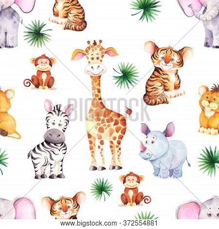 Seamless Pattern With Funny African Animals. Little Giraffe, Zebra, Tiger, Lion, Rhino And Hippo Cub