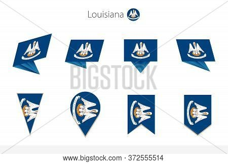 Louisiana Us State Flag Collection, Eight Versions Of Louisiana Vector Flags. Vector Illustration.
