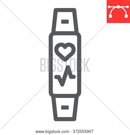 Fitness Tracker Line Icon, Fitness And Sport, Fitness Band Sign Vector Graphics, Editable Stroke Lin