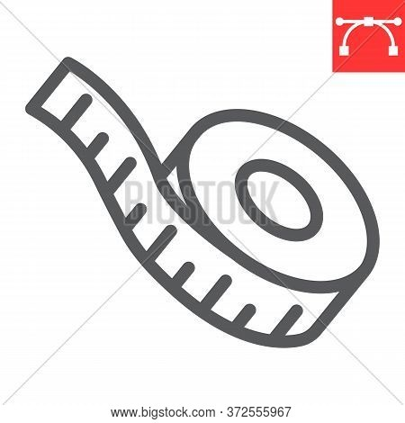 Measuring Tape Line Icon, Fitness And Ruler, Measurement Tape Sign Vector Graphics, Editable Stroke