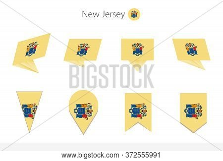 New Jersey Us State Flag Collection, Eight Versions Of New Jersey Vector Flags. Vector Illustration.