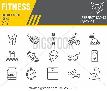 Fitness Line Icon Set, Sport Symbols Collection, Vector Sketches, Logo Illustrations, Gym Icons, Fit