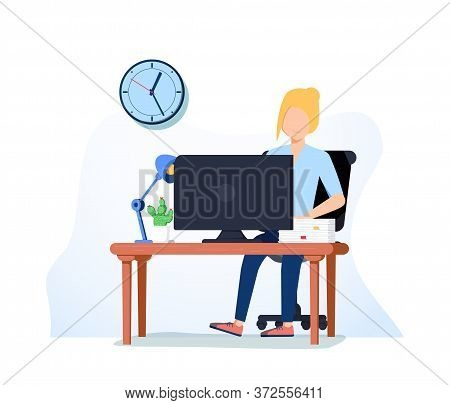 Office Worker Busy Business Woman Or Freelancer Working On Laptop Sitting At Table Workplace Thinkin