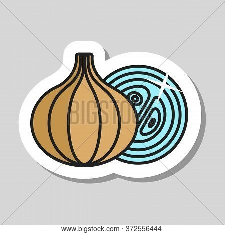 Onion Vector Icon. Barbecue And Bbq Grill Sign. Vegetable. Graph Symbol For Cooking Web Site And App