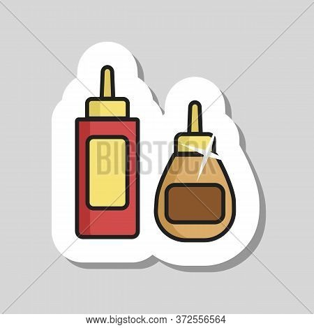 Ketchup Mustard And Mayonnaise Spicy Bottle Icon. Barbecue And Bbq Grill Sign. Graph Symbol For Cook