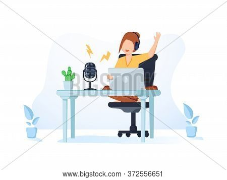 Radio Host With Table Flat Vector Illustration. Media Hosting Doodle Drawing. Female Podcaster In Po