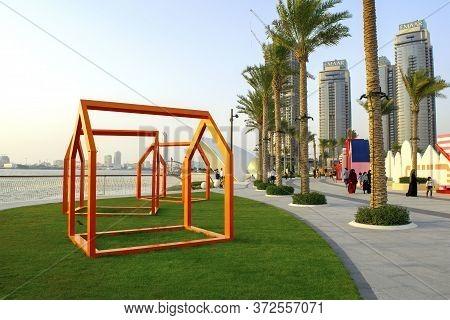 Dubai / Uae - June 19, 2020: Dubai Creek Harbour Promenade/walk With Beautiful Towers And Green Palm