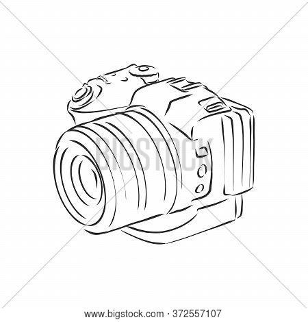 Dslr Camera Illustration With Brushwork . Camera, Vector Sketch Illustration