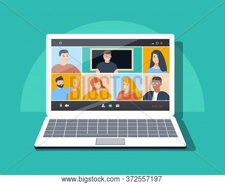 Online Class. Stay School Learn Study From Home Via Teleconference Web Video Conference Call During