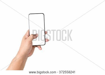 Hand Man Is Holding Mobile Phone With White Screen Isolated On A White Background With The Clipping