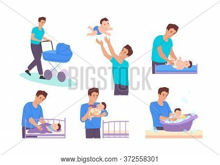 Dad On Maternity Leave. Dad Takes Care Of Newborn Son:he Walks With A Stroller, Throws The Baby Into