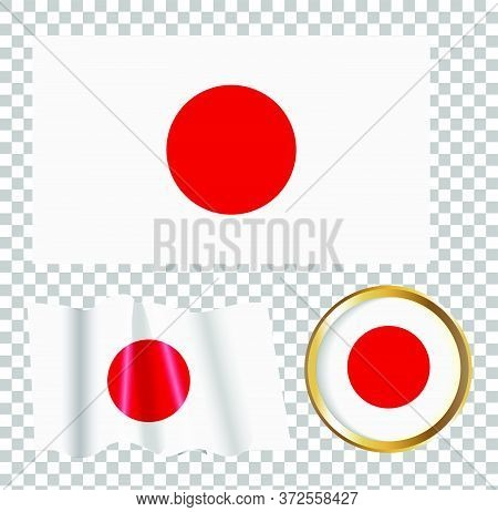 Vector Illustration Of The Flag Of Japan. Isolated Image Of The Options Of The Flag Of Japan. Elemen