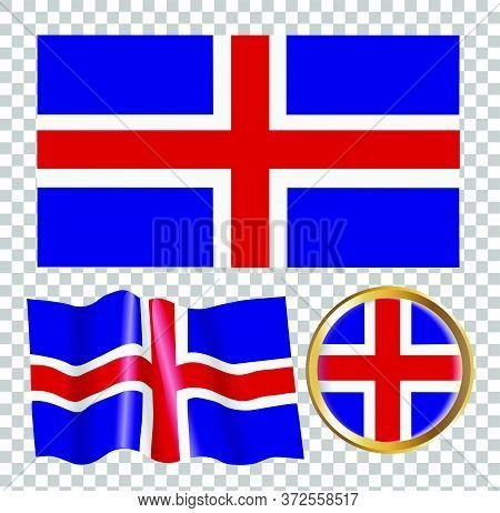 Vector Illustration Of The Flag Of Norway. Isolated Image Of The Options Of The Flag Of Norway. Elem