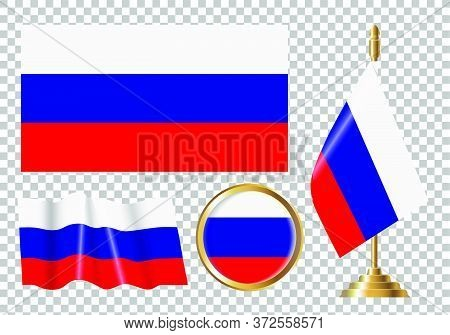 Vector Illustration Of The Flag Of Russia. Isolated Image Of The Options Of The Flag Of Russia.