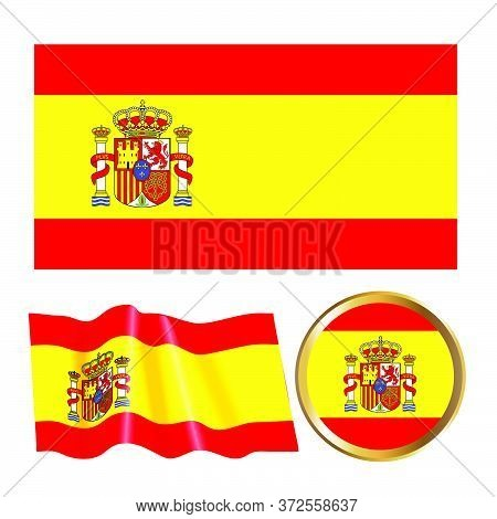Vector Color Illustration Of The Spanish Flag. Isolated Objects. Illustration Of The Options For The
