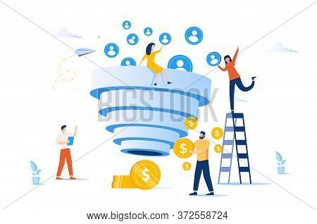 Sales Funnel And Lead Generation. Marketing Strategy. Sales Pipeline Management, Representation Of S