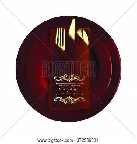 Vector Realistic Illustration Of Served Dishes. Golden Letters Of Your Text On Dark Plates. Brown Pl
