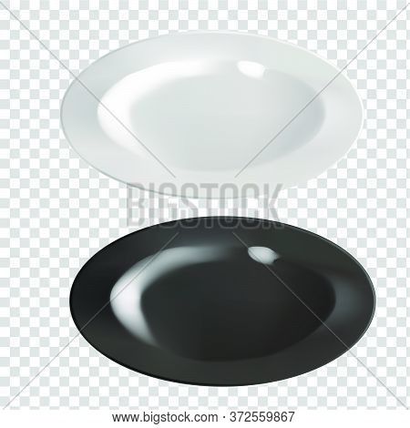 Vector Realistic  Illustration Of Pottery. An Isolated Image Of Porcelain Plates. White And Black Pl