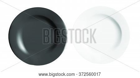 Vector Realistic Illustration Of Cups. White And Black Porcelain Plates. View From Above.vector Real