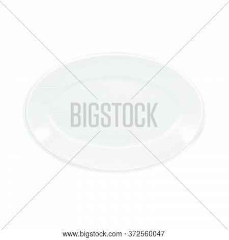 Vector Realistic Illustration Of White Oval Porcelain Plate. Isolated Image Of Tableware.