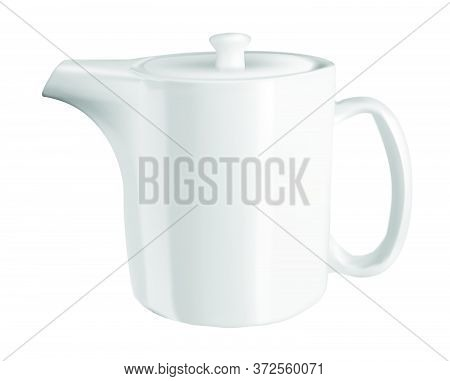 Vector Realistic Illustration Of A White Teapot. Isolated Image Of Cookware. Kettle For Hot Tea. Cer