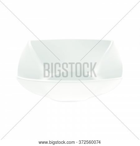 Vector Realistic Illustration Of White Porcelain Square Salad Bowls On White Background. Isolated Im