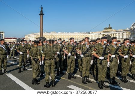 Saint-petersburg.russia.june 17, 2020.rehearsal Of The Victory Parade On Palace Square In Saint Pete