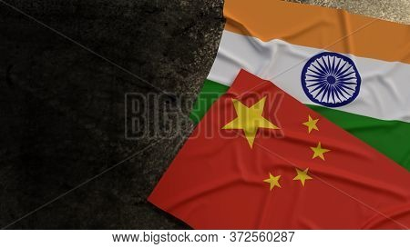 The China And India Flags On Rusty Background 3d Rendering For  Border Content.