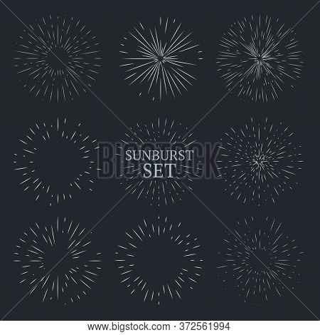 Set Of Vintage Sunbursts. Retro Line Art Ray Of Sun Or Star, Fireworks. Perfect For Logo Design. Vec