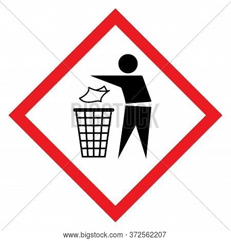Do Not Litter Flat Icon In Red Rhombus Isolated On White Background. Keep It Clean Vector Illustrati