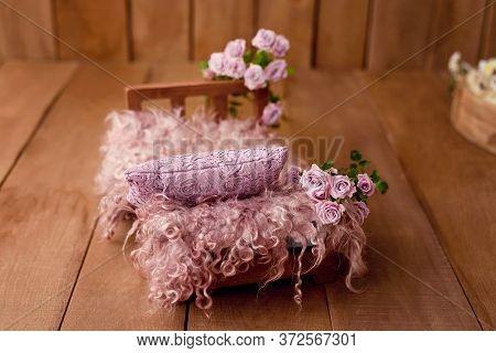Newborn Digital Background Spring Rose Basket Prop For Newborn. For Boys And Girls. Wood Back. Shoot