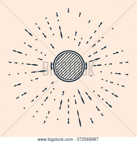 Black Barbecue Grill Icon Isolated On Beige Background. Top View Of Bbq Grill. Abstract Circle Rando