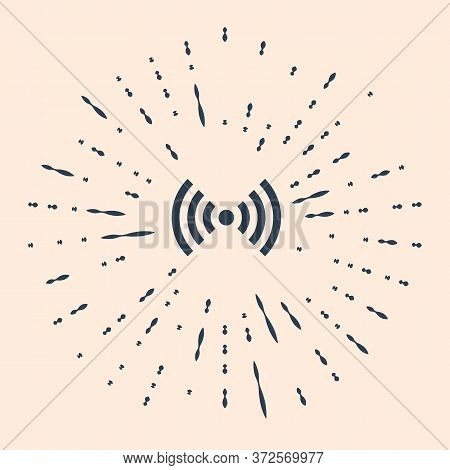 Black Wi-fi Wireless Internet Network Symbol Icon Isolated On Beige Background. Abstract Circle Rand