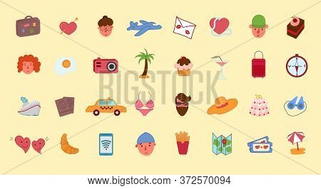 Large Collection Of Travel And Holiday Icons For A Tropical Summer Getaway At The Seaside, Colored V