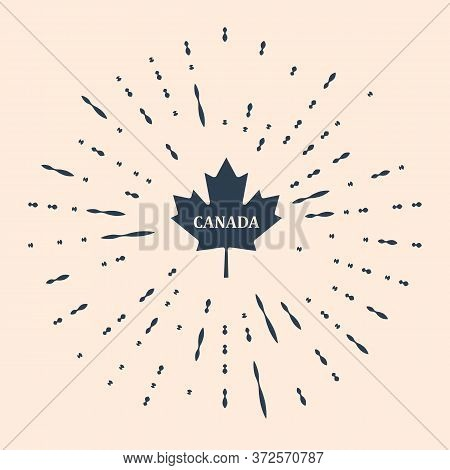 Black Canadian Maple Leaf With City Name Canada Icon Isolated On Beige Background. Abstract Circle R