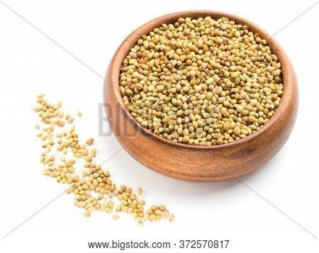 Spice Coriander (coriandrum Sativum) Seeds In Wooden Bowl Isolated On White Background. Diet And Wei
