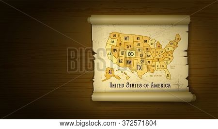 Old Usa Map Vector Illustration On Wooden Background With Compass. Retro Grunge Vintage Style
