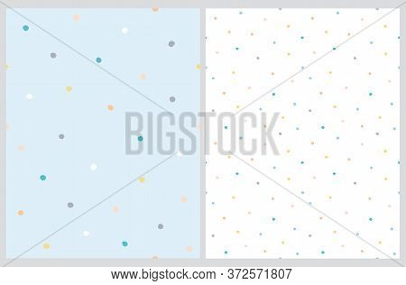 Cute Hand Drawn Abstract Irregular Polka Dots Vector Pattern Set. Colorful Tiny Brush Dots Isolated