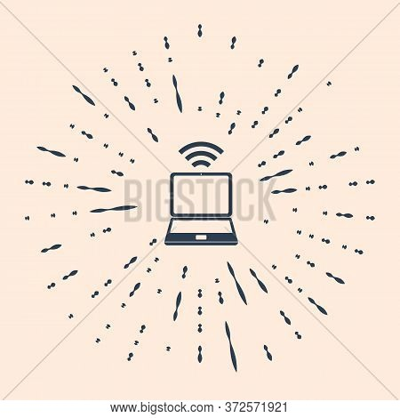 Black Laptop And Free Wi-fi Wireless Connection Icon Isolated On Beige Background. Wireless Technolo